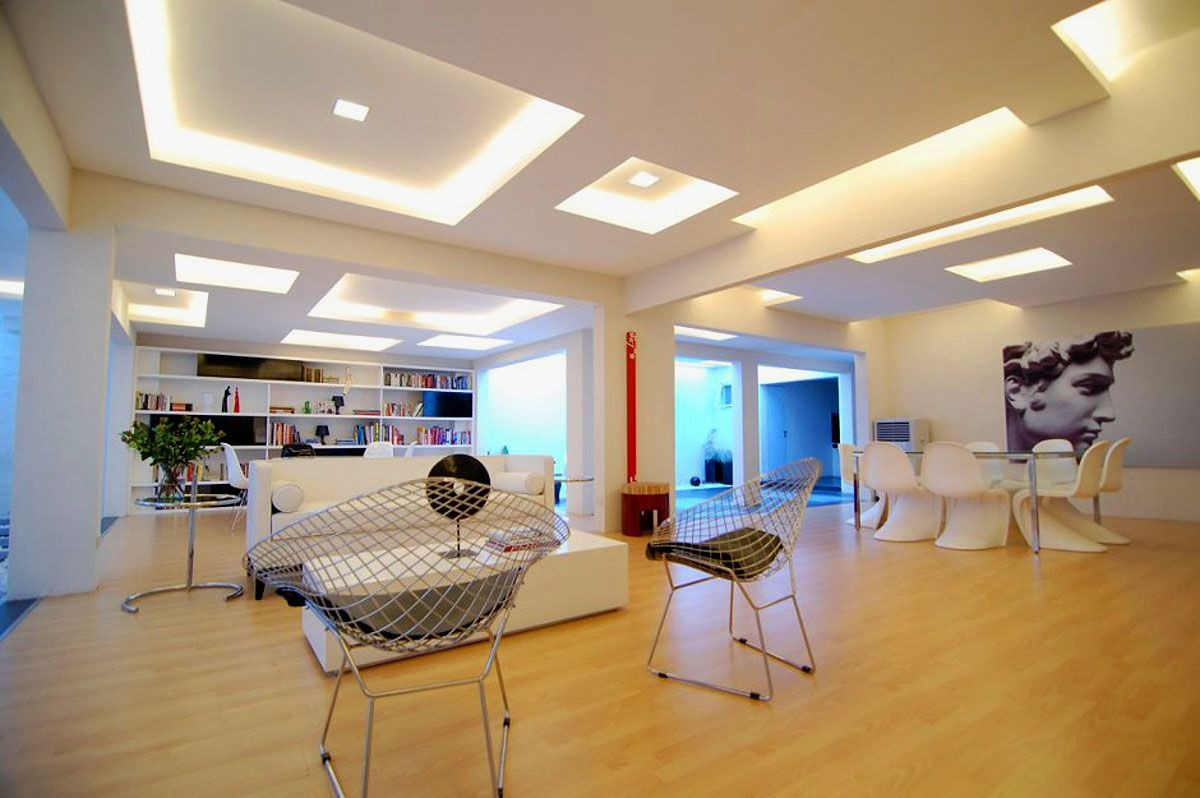 Home Interior, Gypsum Board For Creating Beauty Ceiling In Your Home:  Bright Ceiling Design