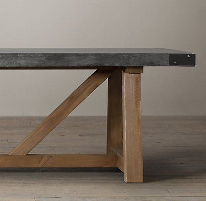 Slate Grey Concrete Top Table W Salvaged Wood Legs Concrete