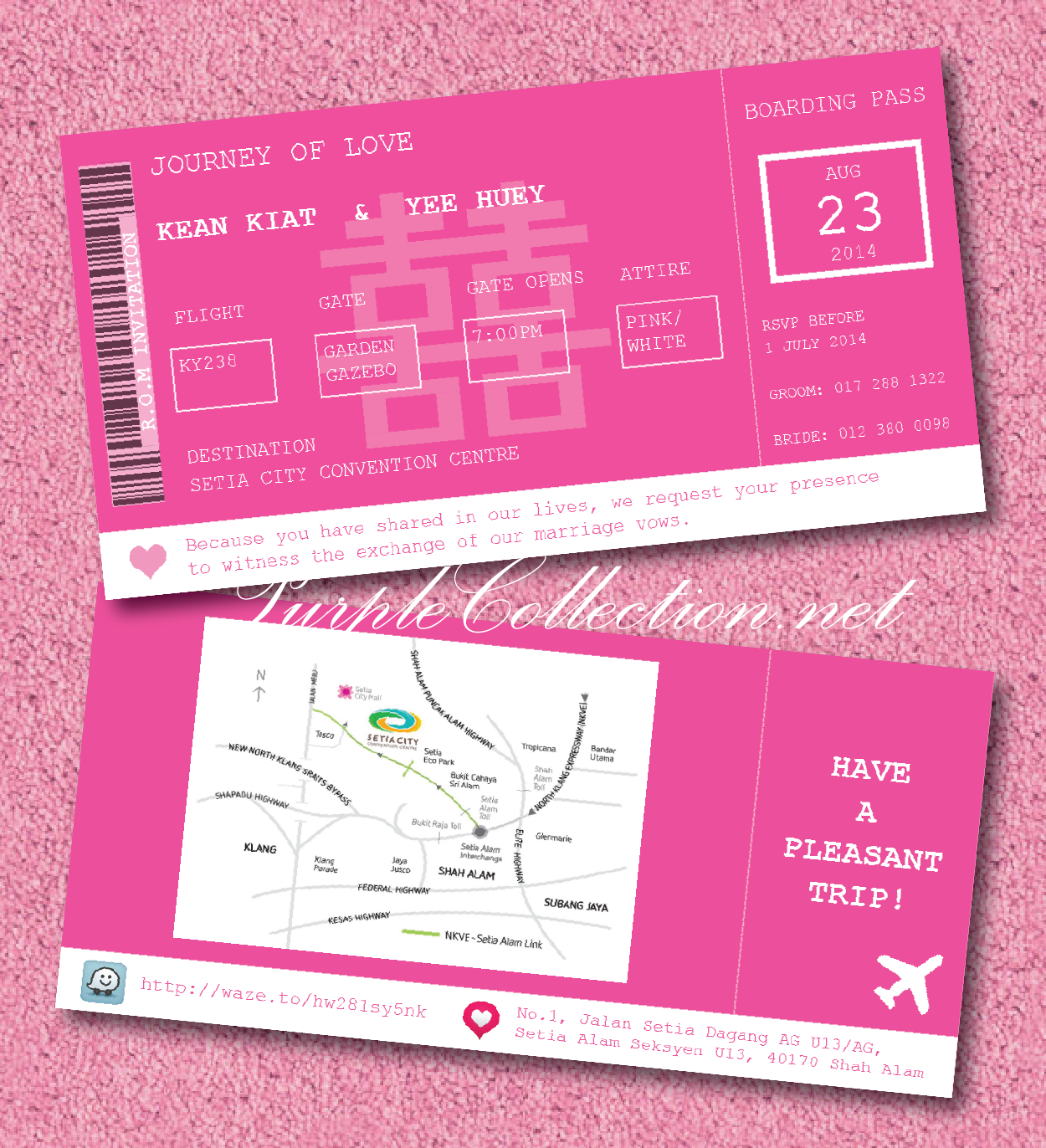 Magenta boarding pass wedding card wedding invitation cards wedding card malaysia by purplecollection modern invitation card stopboris Gallery