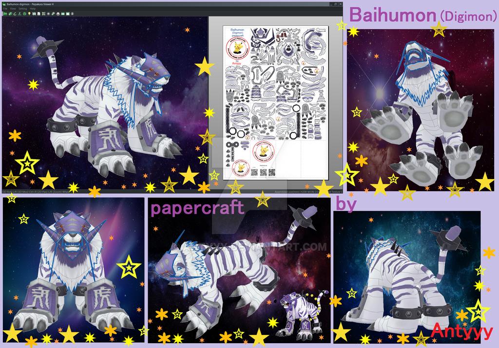 baihumon digimon papercraft by antyyy deviantart com on deviantart