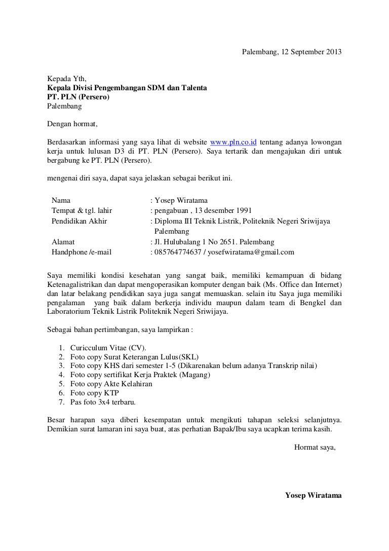 Surat Lamaran Kerja Pln Surat Tulisan Pendidikan