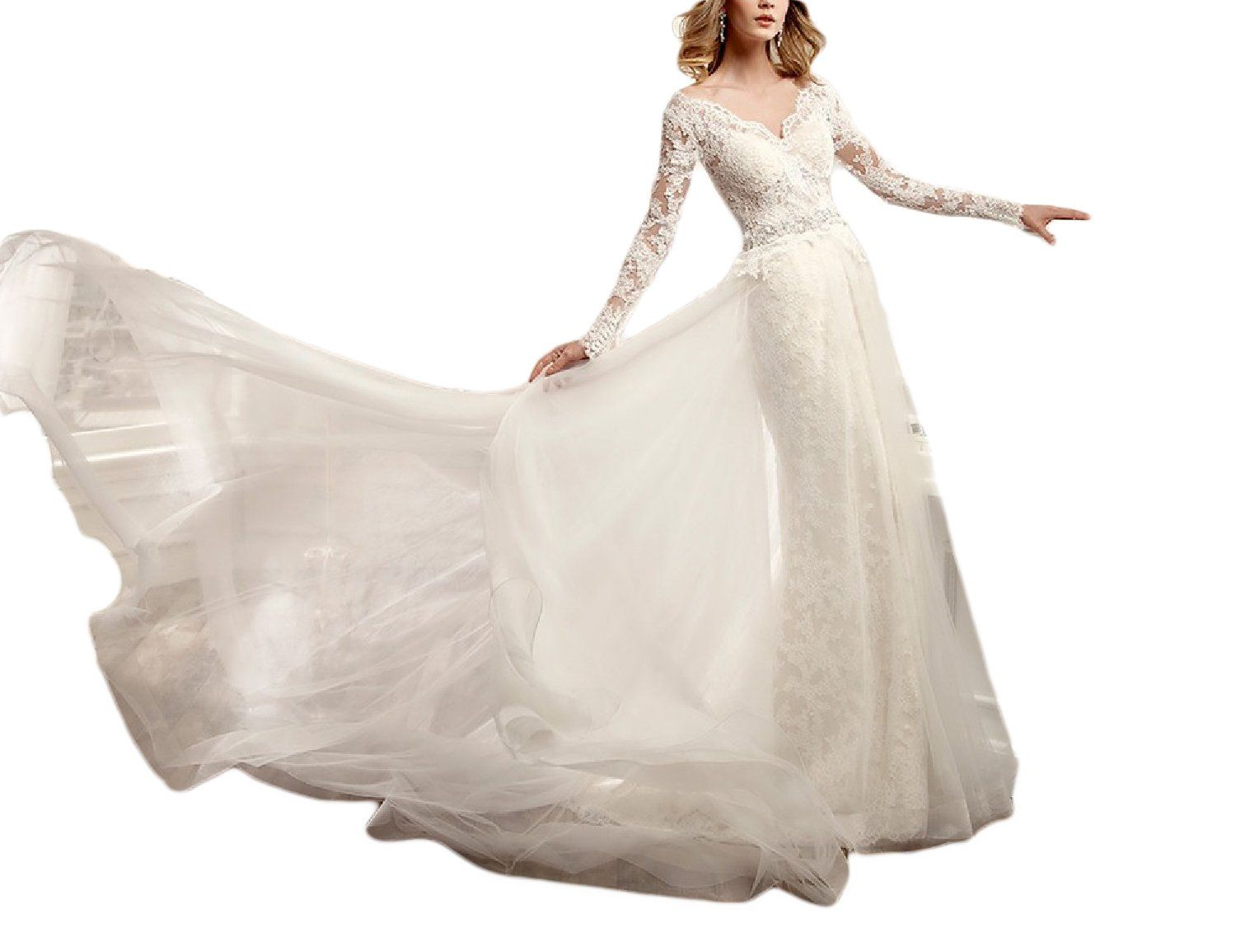 Ysmei womenus long v neck bridal gowns tulle wedding dress with