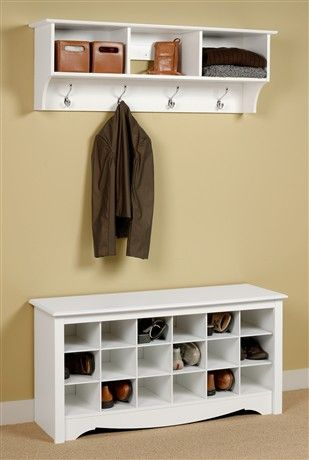 Entryway Wall Mount Coat Rack w Shoe Storage Bench in White | Home ...