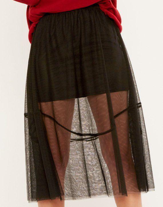 Tulle Midi Skirt Black
