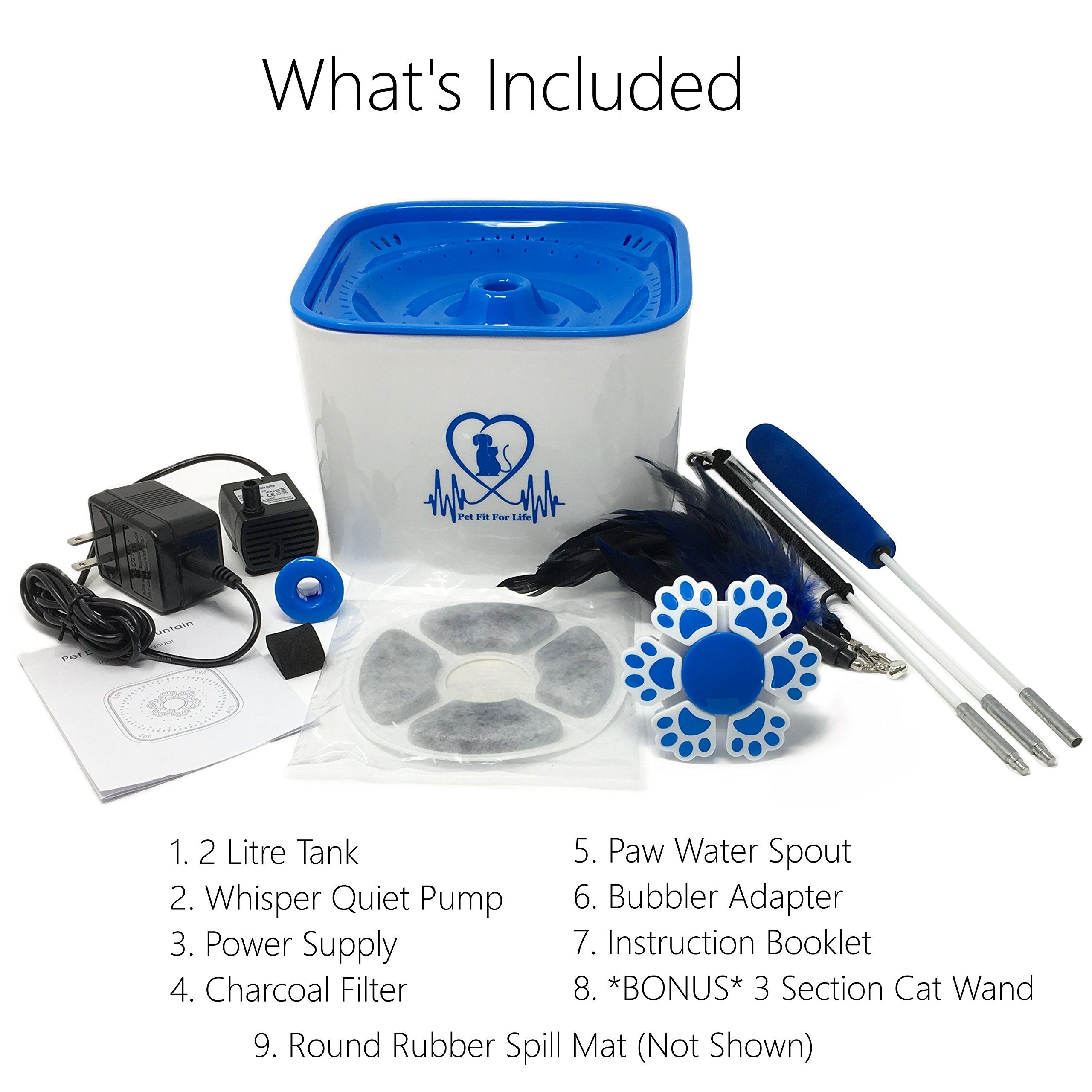 Pet Fit For Life Water Fountain Dispenser Plus Bonus Cat Wand And Mat 2 Liter Super Quiet Automatic Water Bowl With Ch Small Pets Diy Cat Toys Charcoal Filter