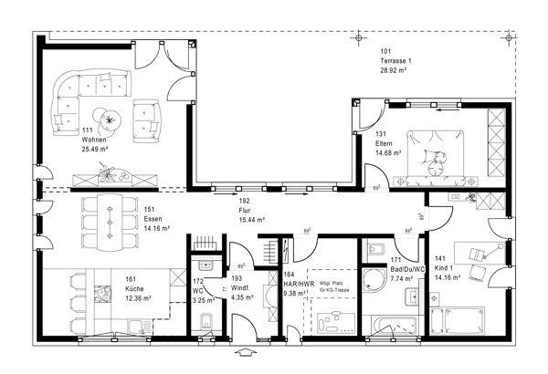 Unser Grundrissvorschlag für den Bungalow FN 110170 A