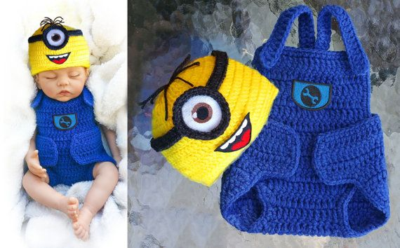 Minion baby clothing set crochet baby costume crochet diaper cover ...