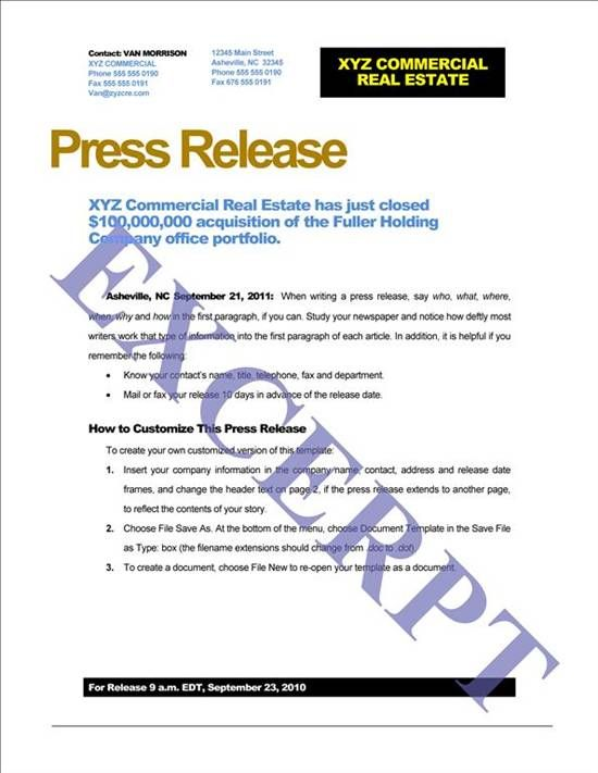 Press Release Template Free  Google Search  Jill SharpeS