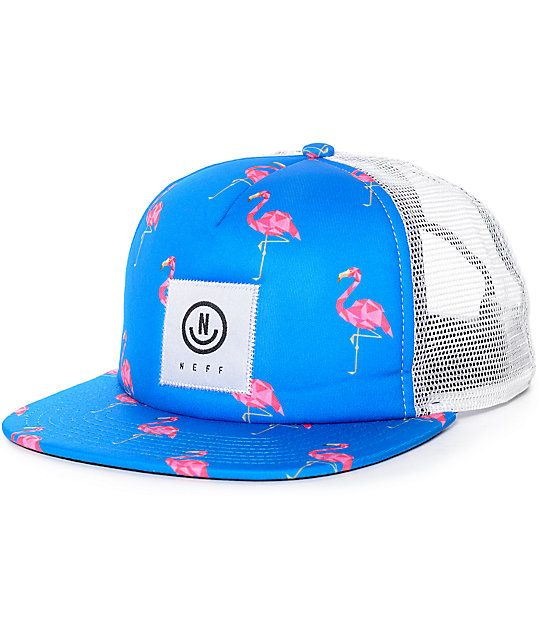 804860e0 The Neff Flamingo white mesh and blue snapback trucker hat features a blue  front and bill with pink flamingo print and a white square stitched Neff  tag at ...