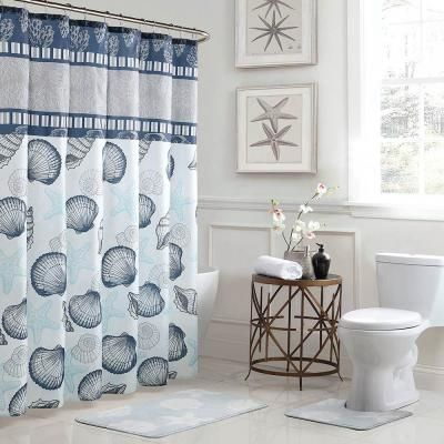 Bath Fusion Island 18 In X 30 In Bath Rug And 72 In X 72 In Shower Curtain 15 Piece Set In Blue Grey Ymb007222 The Home Depot In 2020 Bathroom Shower Curtain