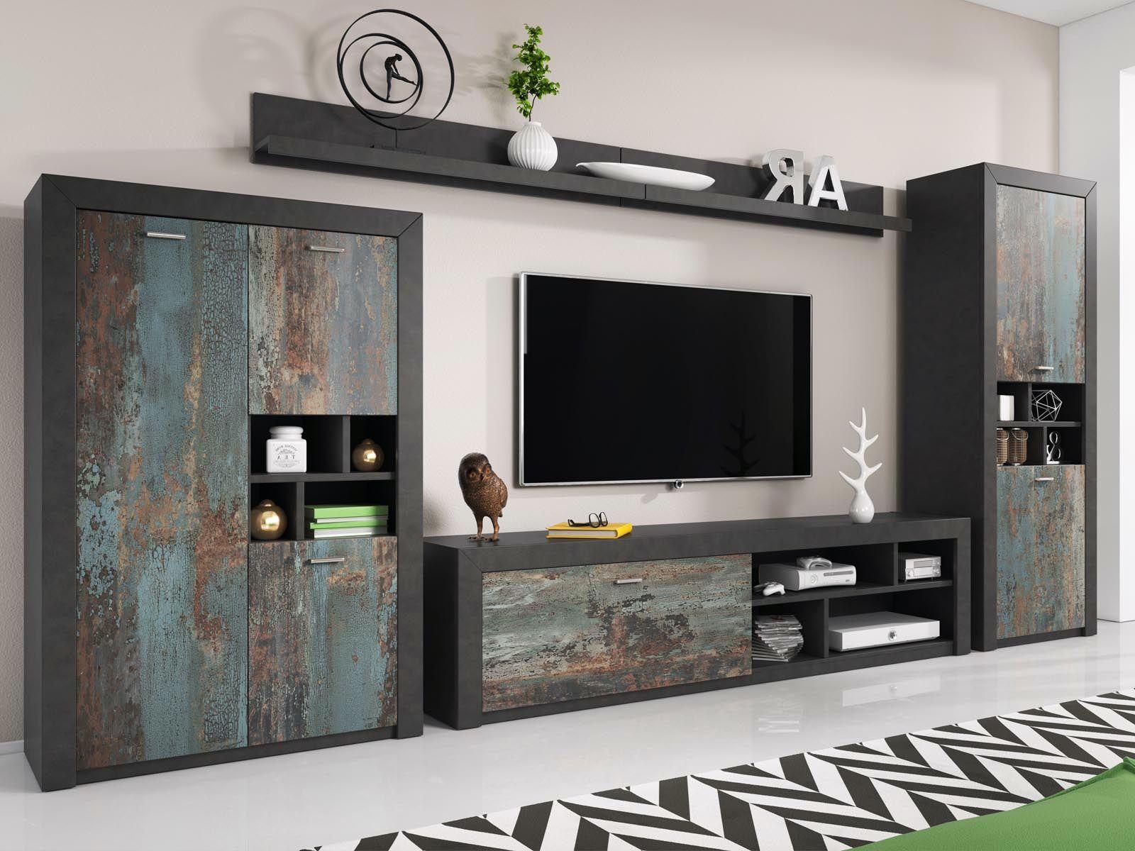 Mur Tv Hifi Norma Matera Canyon Effet Metal Mur Tv Meuble Tv Hifi Mobilier De Salon
