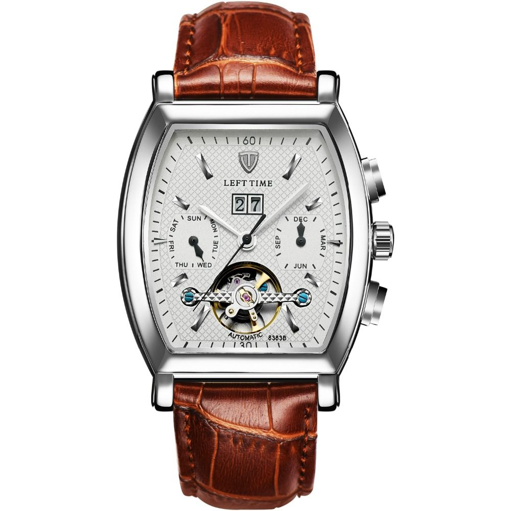 ea2c585482f Tevise 2017 Men s Tourbillon Watch Clock Leather Business Casual Automatic  Self Wind Mechanical Wristwatch Relogio Masculino