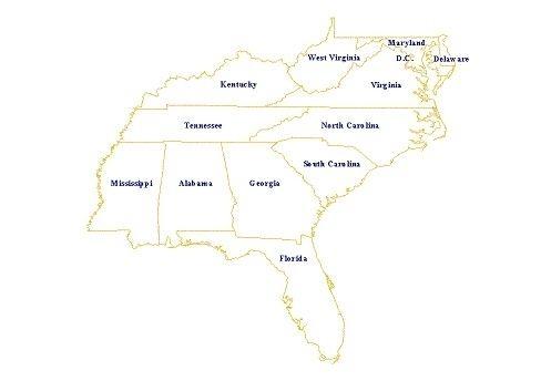 free Southeast Usa Map southeastern usa map gallery southeast states ...