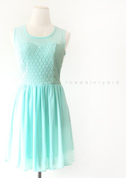 81c211141b9 Tiffany Chiffon Lace Dress Sweet Pastel Bridesmaid by thedaintyard ...