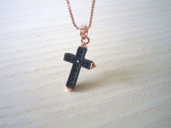 black cross necklace,cross n... from BlossomsmithC on Wanelo