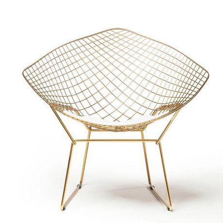 Plata D Cor Import Inc Diamond Bertoia Chair Gold And White All