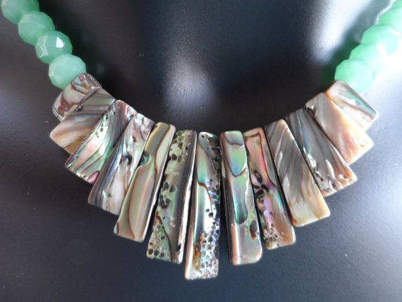 Abalone and Seafoam Green Necklace by JemsbyJackieS on Etsy