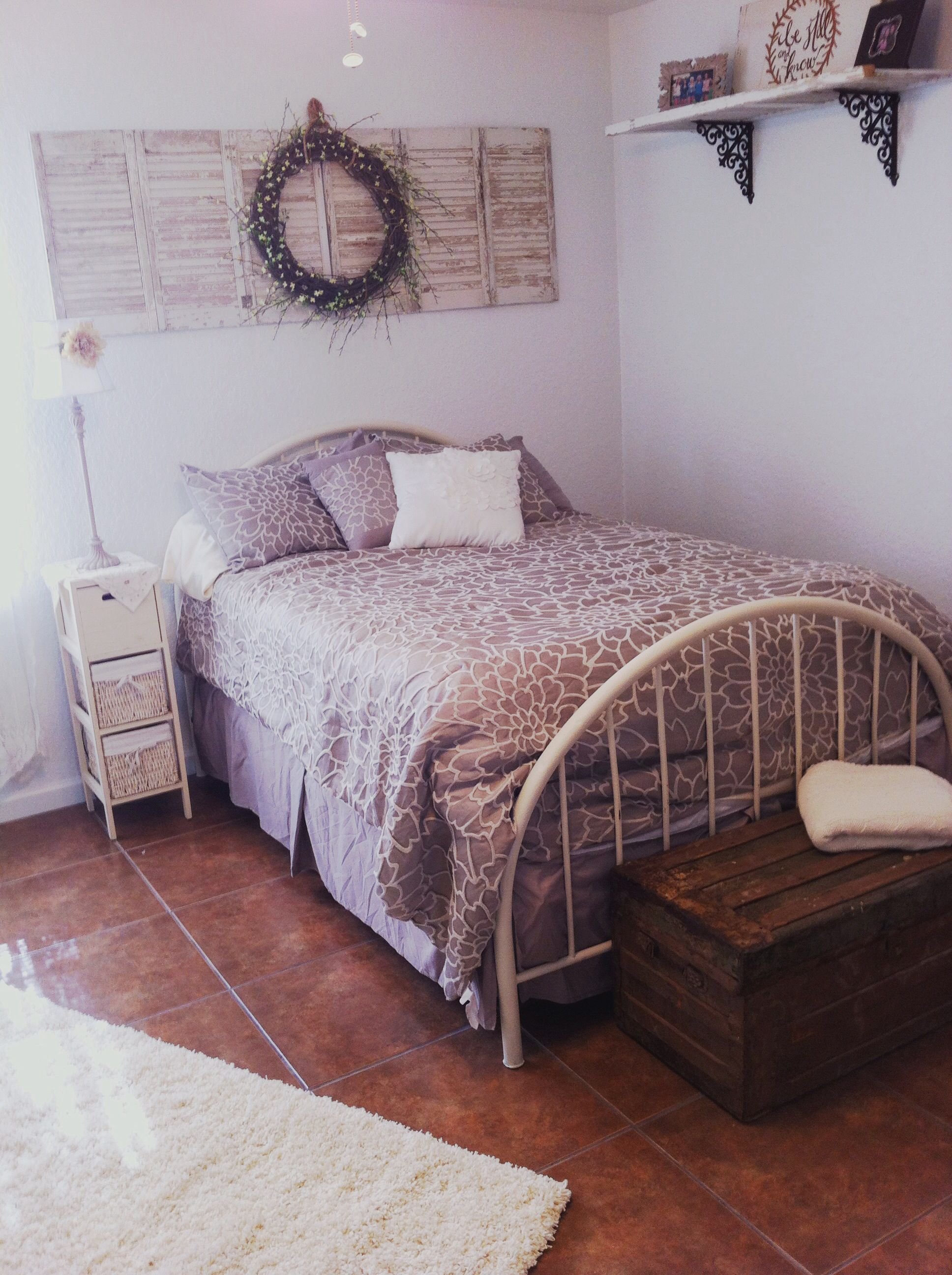 Overbed Bedroom Furniture Taupe Tan White Bedroom Shutters Over Bed With Diy Wreath
