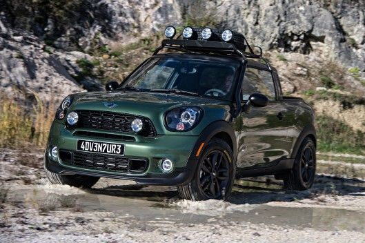 Mini Cooper Pick Up The Roof Rack Holds A Spare Tire And Includes Lights For Night Off Roading