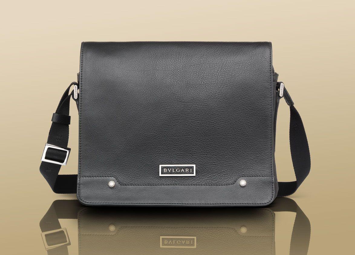 Bulgari mens messenger bag in black casual grain calf leather 1 ...