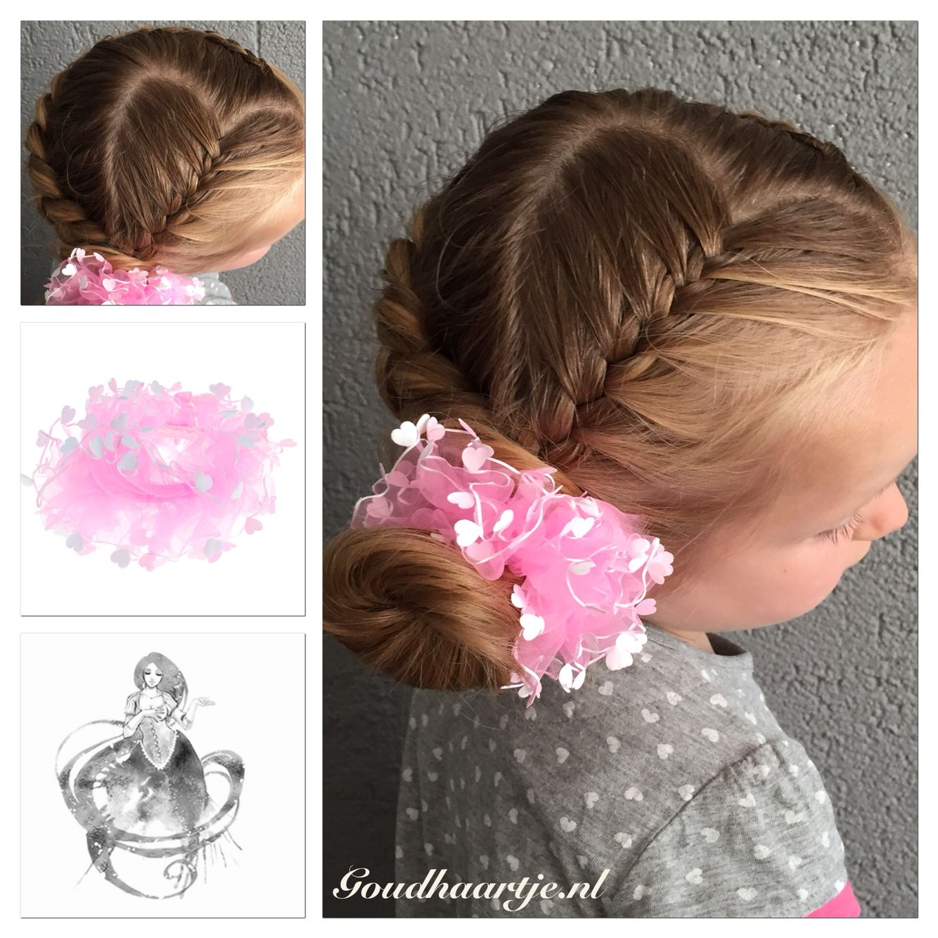 Heart shape hairstyle with hair elastic from Goudhaartje.nl #braid #hairstyle #hairaccesories #hairelastics #heart #vlecht #haaraccessoires #haarelastiekjes #hart #goudhaartje #heartbraid