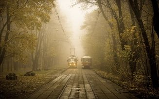 улица, город, трамвай