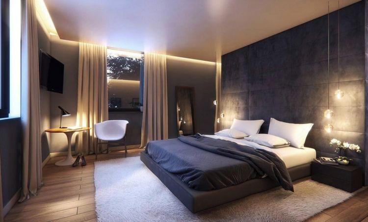 Elegant Schlafzimmer Modern Gestalten Ideen Dunkel Beige Anthrazit Grau