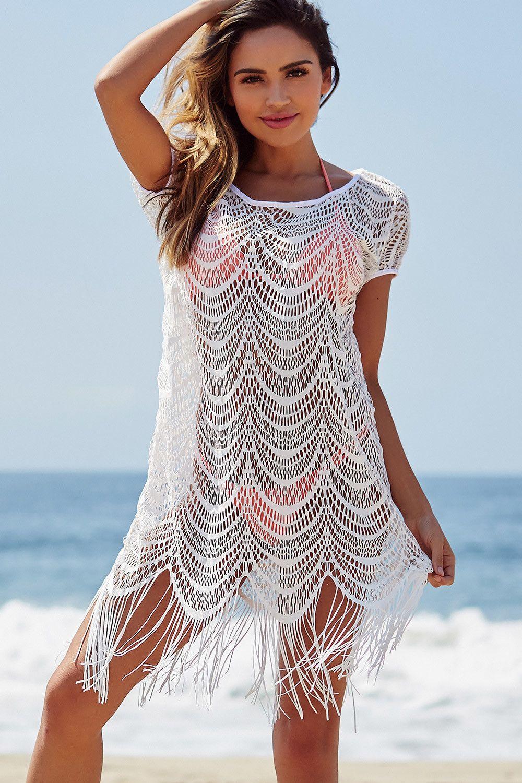 7ead5e1cb0 Caribbean Dream White Wave Pattern Mesh Net Fringed Bikini Cover Up ...