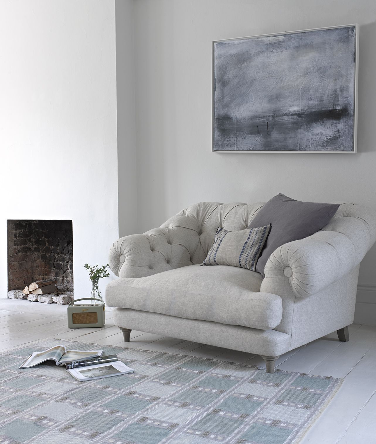 large grey tufted chair Home decor Pinterest