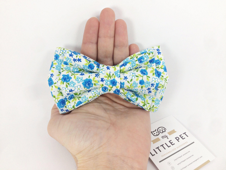 Dog Bow Tie Wedding Blue Flower Dog Bow Bow Ties For Dogs Dog Bows Dog Bowtie Pet Bow Tie Pet Bowtie
