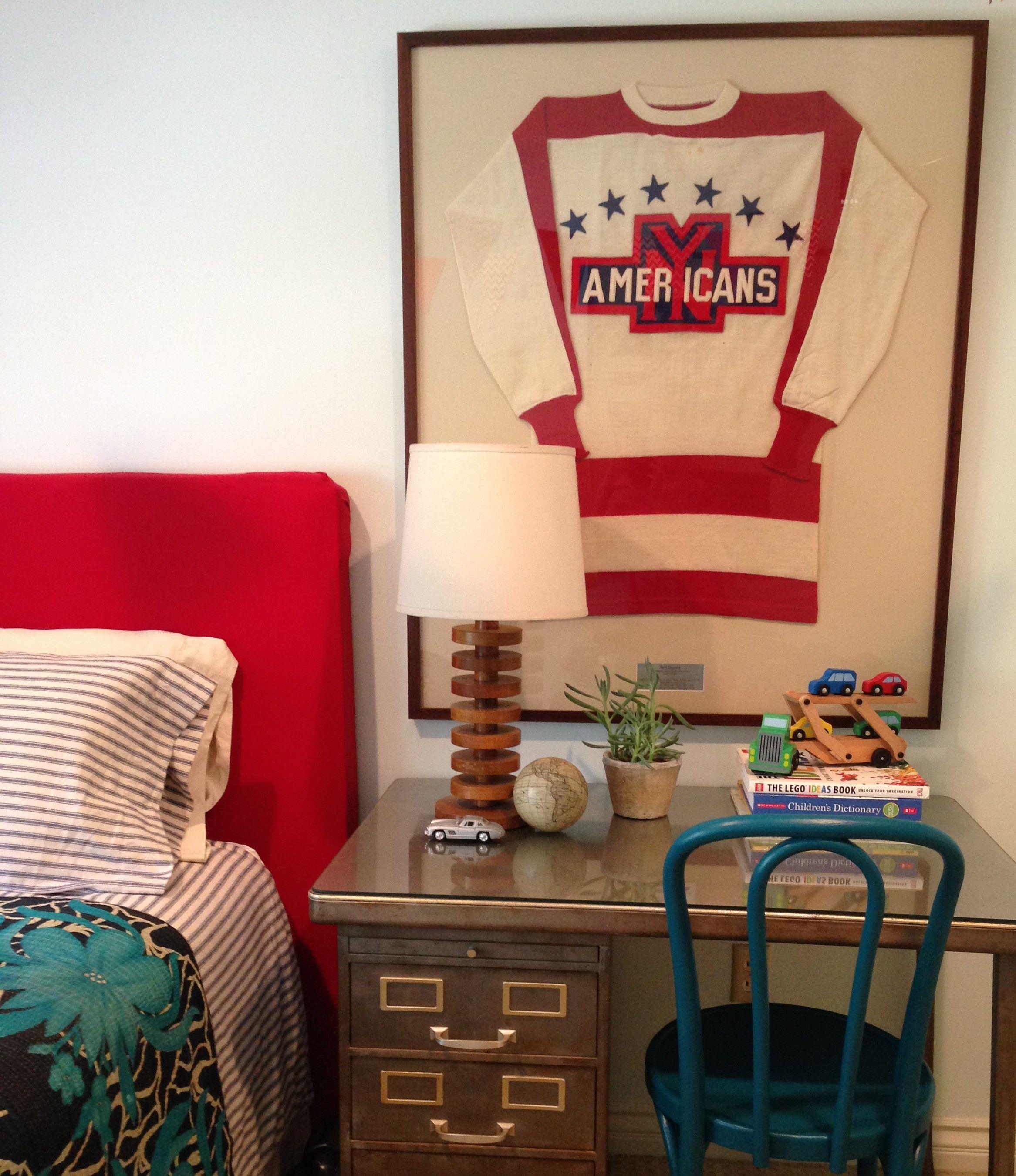 Boy S Bedroom Interior Design By Www Annahackathorn Com Framed Vintage Hockey Jersey Vintage Me Red Headboard Kids Interior Room Kids Room Interior Design