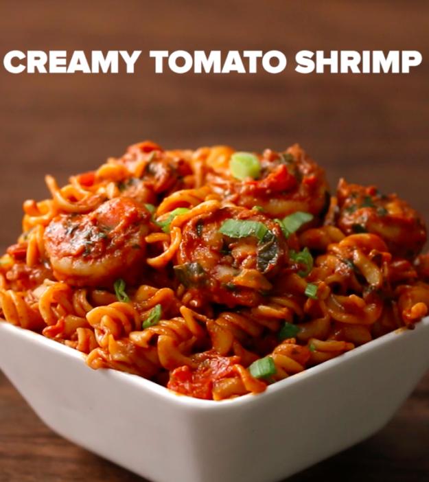 Creamy Tomato Shrimp | Falda de cuero, Comida y Recetas para cocinar