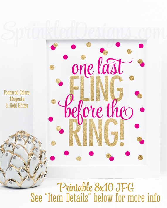 One Last Fling Before The Ring Printable Bachelorette Party Decorations Bridal Shower Decor