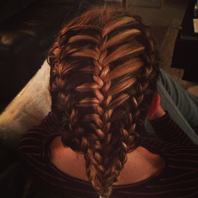 A #featherbraid #frenchbraid combo on my sister. A bit dark as we did it last night, ready for skiing this morning. #braidphoto #instabraid
