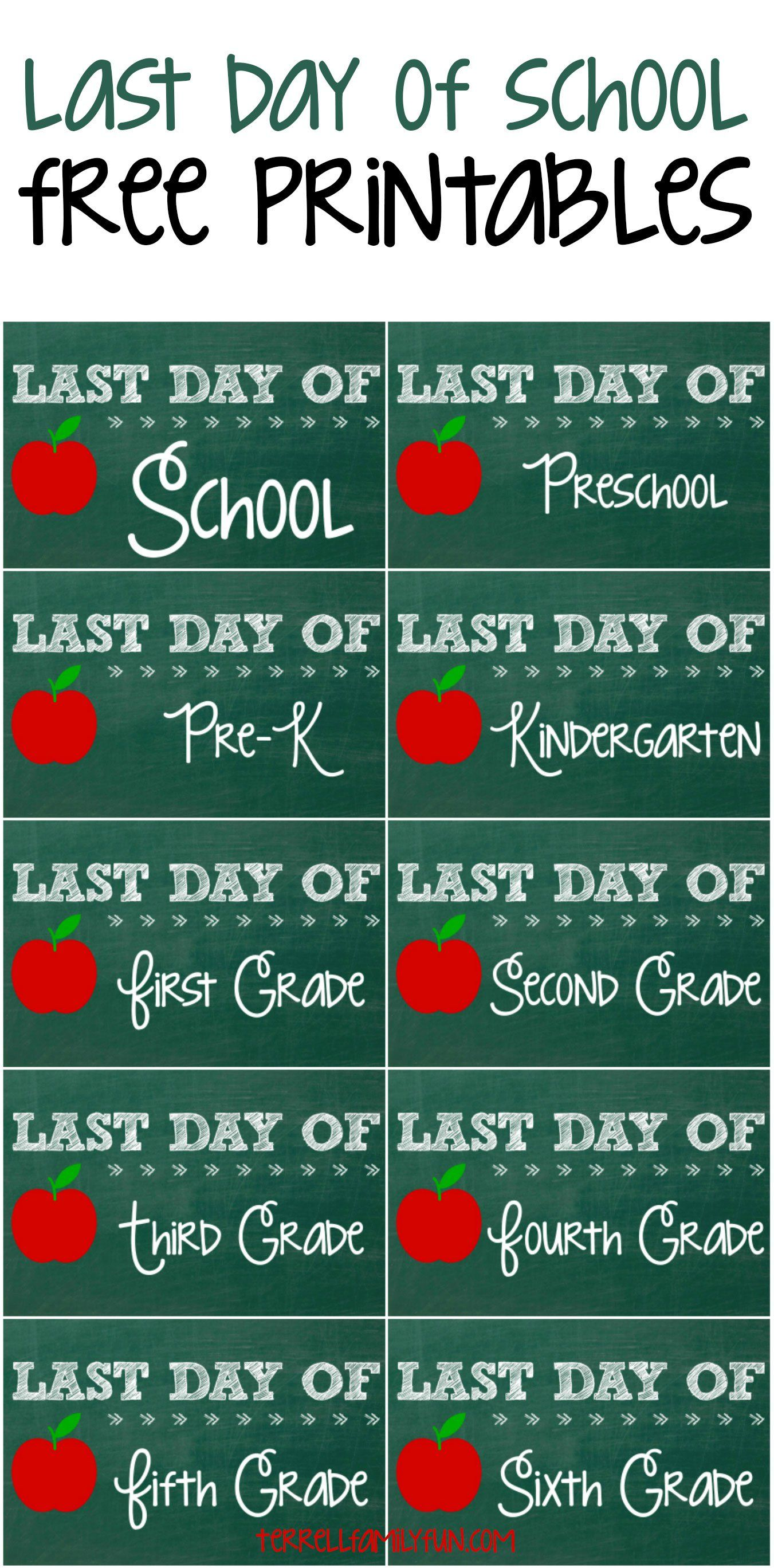 Free Last Day Of School Printables