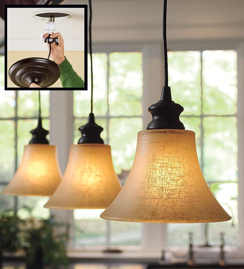 Screw-In Pendant Lighting With Textured Linen Glass Shade