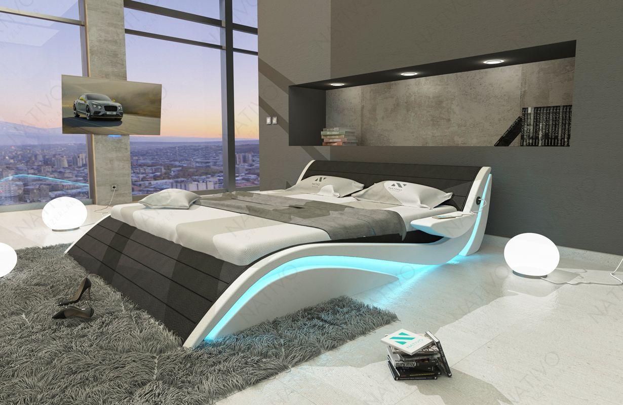 Designer Lederbett Hamburg Inkl Led Beleuchtung Usb Anschluss Futuristisches Schlafzimmer Schlafzimmer Design Und Wohnungsplanung