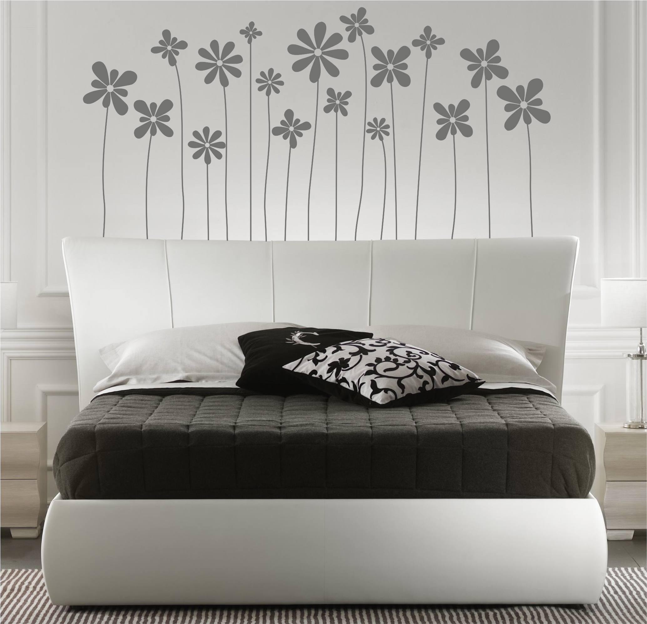 Vinilo decorativo de un cabecero de cama motivo floral 5 for Vinilo para dormitorio adultos