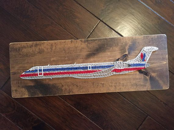American Airlines CRJ-700 (chicken wing) airplane string art