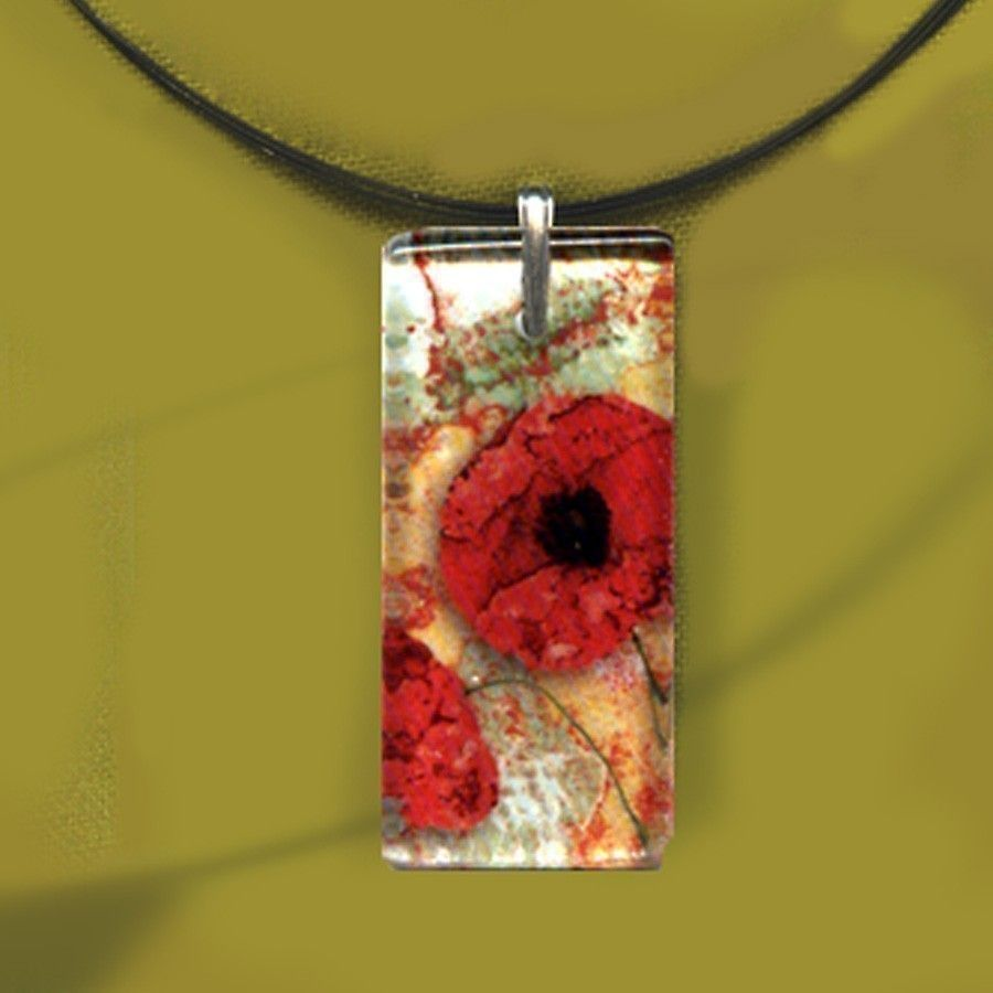 Red Poppy Necklace Reversible Glass Art Necklaces by tzaddishop