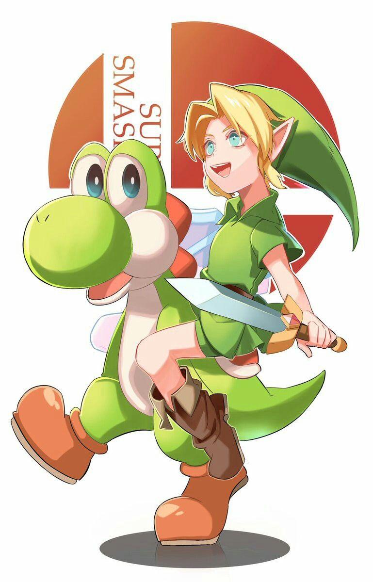 Yoshi and Young Link Smash bros, Super smash bros, Super