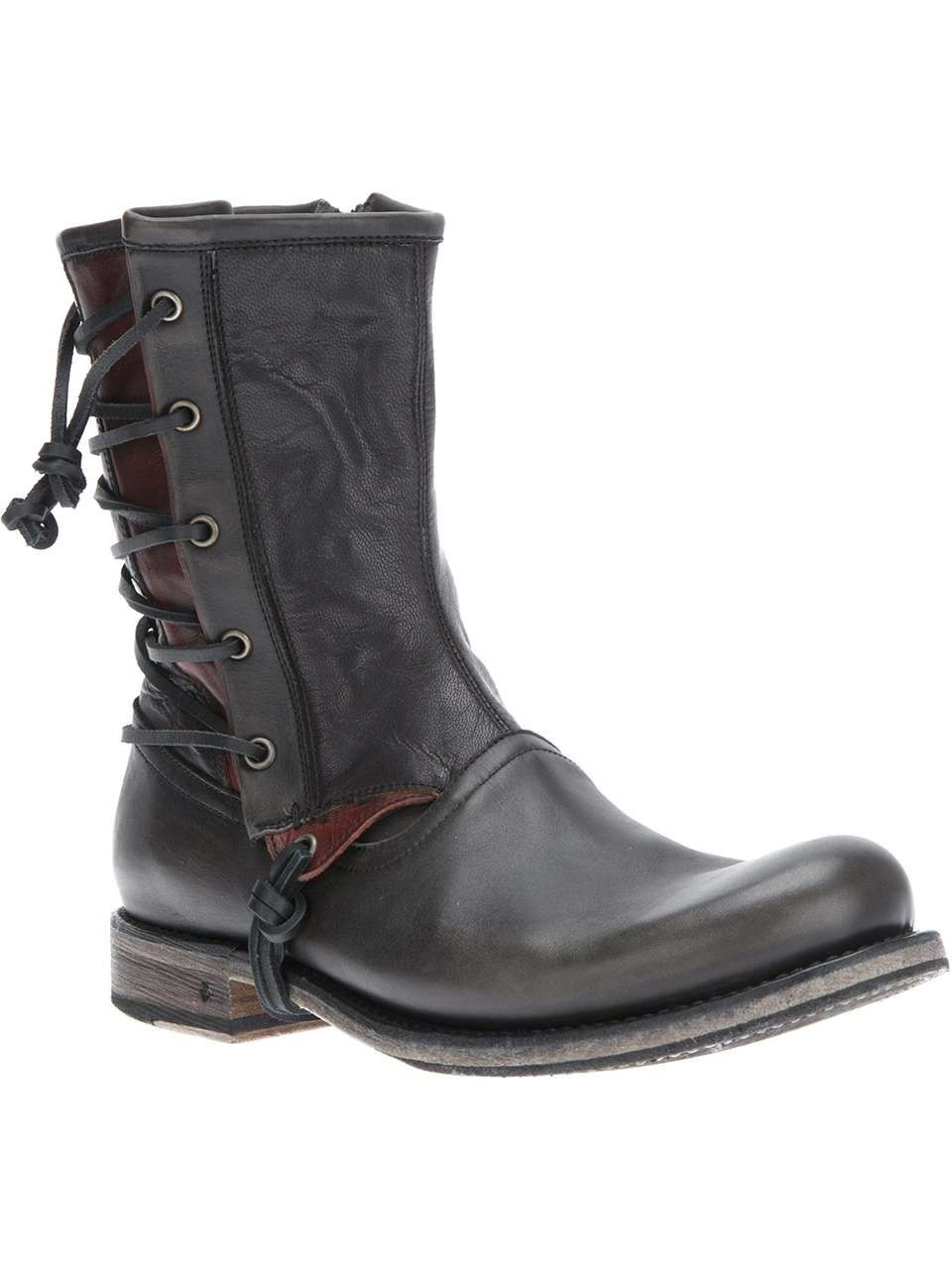 John Varvatos Star USA lace up biker boot. wantering.com