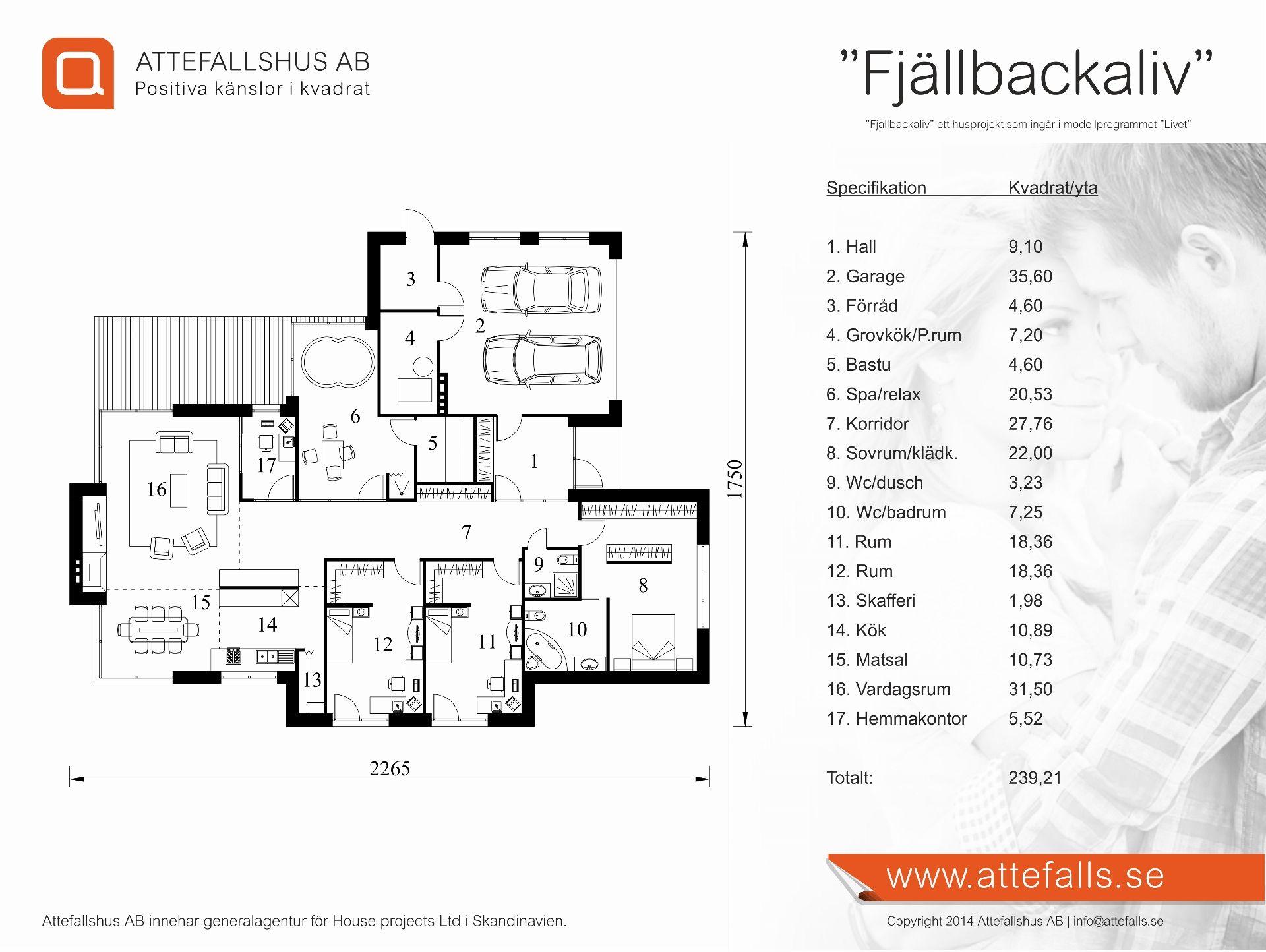 """Villa """"Fjällbackaliv"""" planritning  Besök www.attefalls.se"""