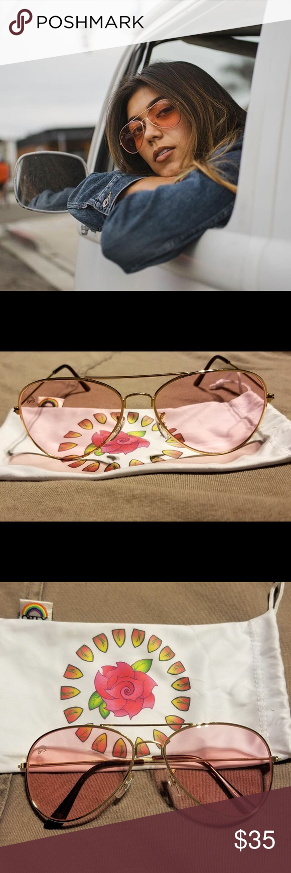 76f5b9b0c71 Rainbow OPTX Rose Aviator Sunglasses New  amp  unused! I am obsessed with Rainbow  Optx s