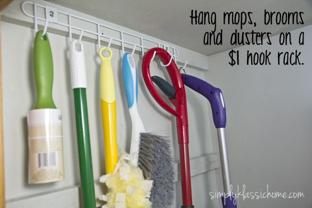 Organizing The Cleaning Closet I Really Like Hook Rack Idea To Hang Up