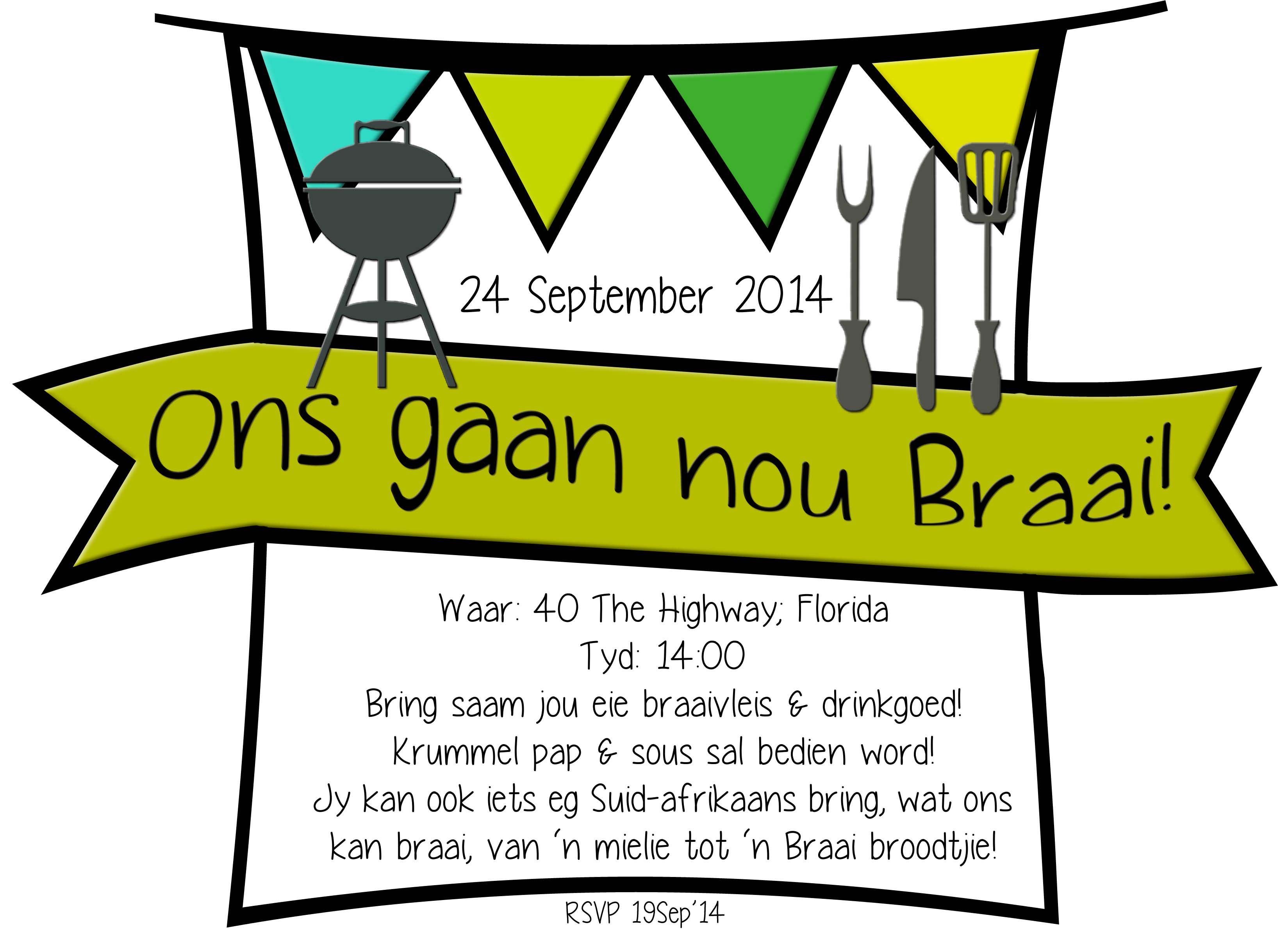 Braai Day  Birthday invitation card template, Invitation template