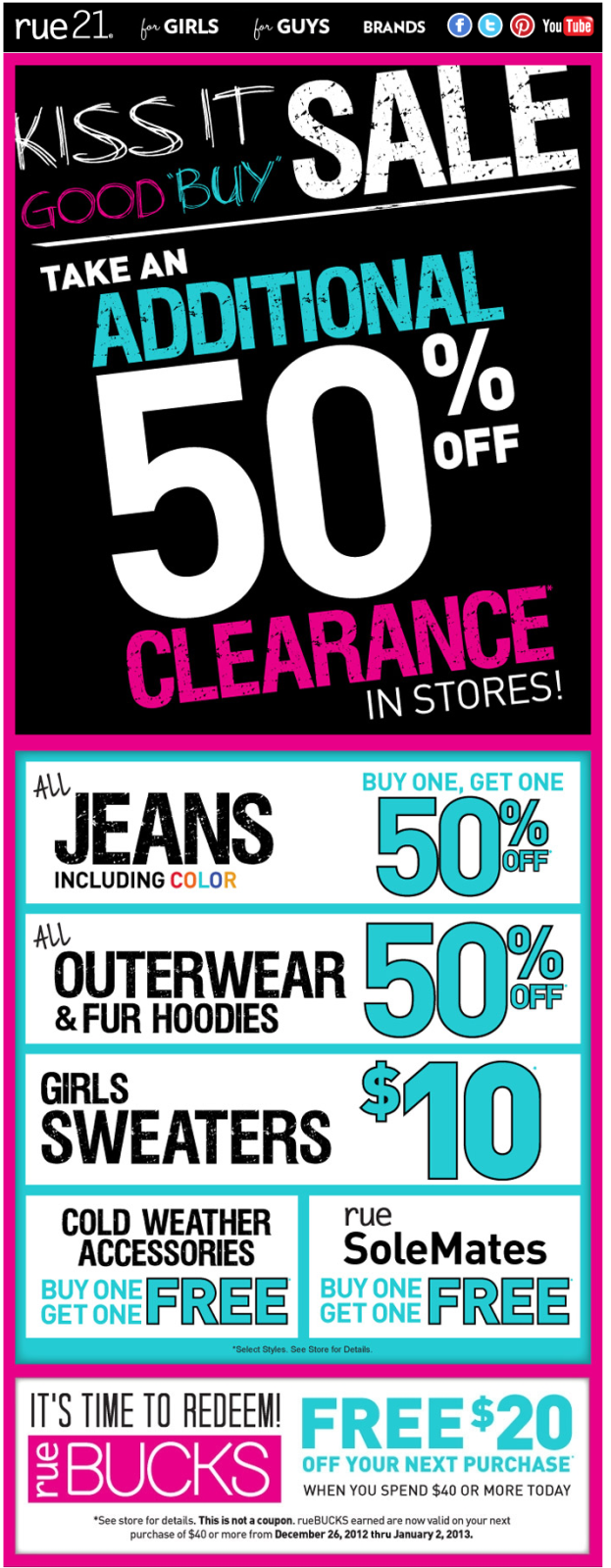 image regarding Rue 21 Coupons Printable named Additional 50% off clearance products and solutions at rue21 coupon by means of The