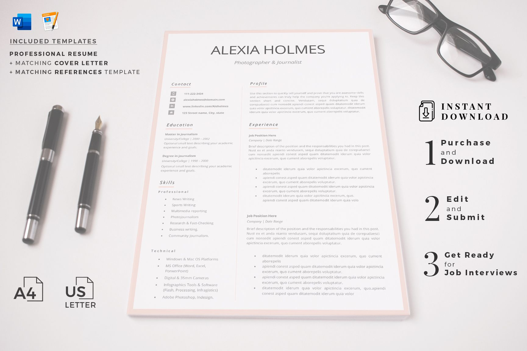 Creative Resume Templates For Ms Word And Mac Pages Professional Resume Templates And Marketing Resume Creative Resume Templates Resume Template Professional