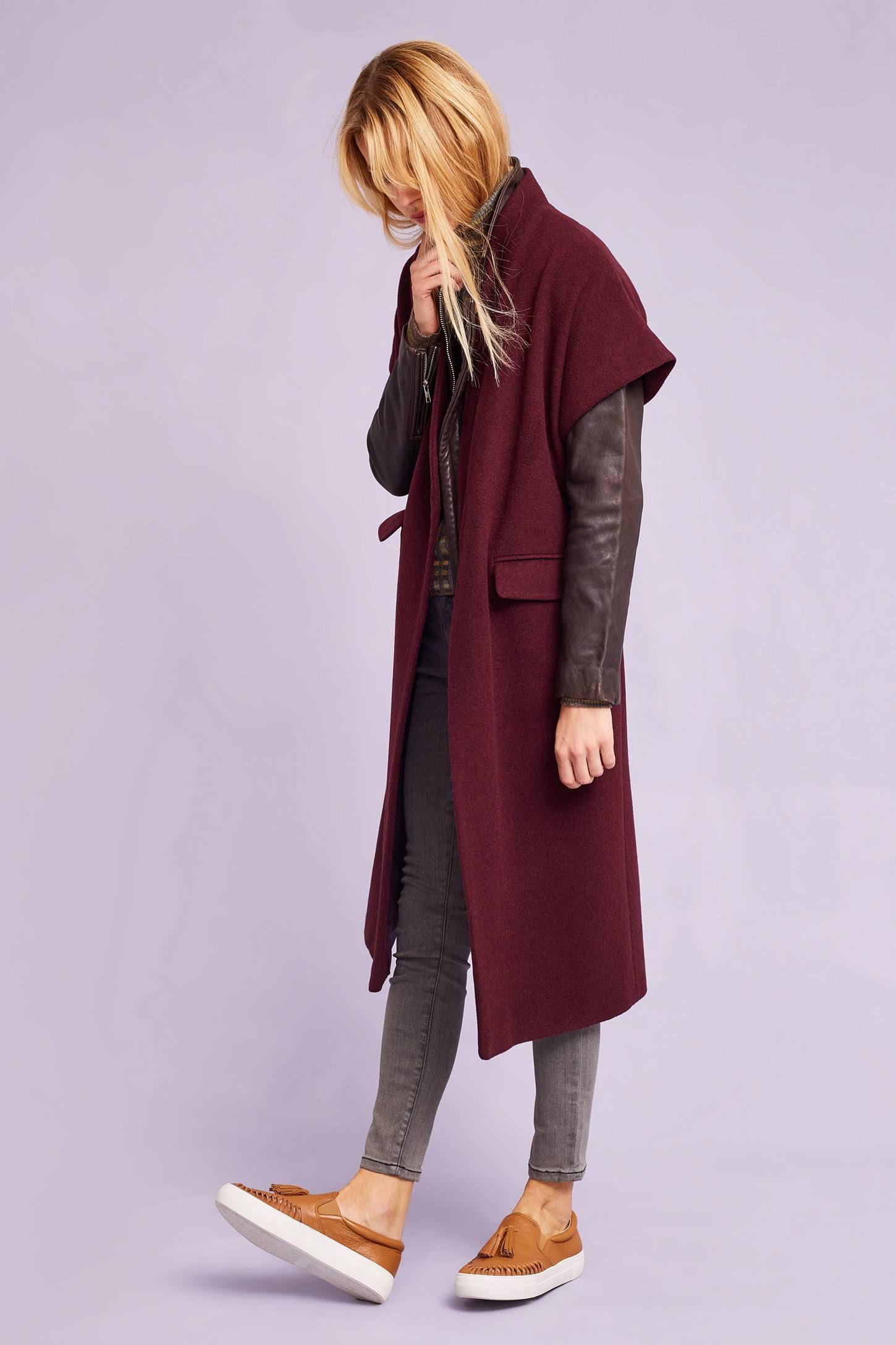 Verona Longline Waistcoat Over Leather Jacket Anthropologie