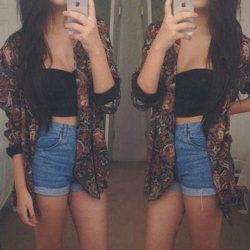 High waisted shorts, crop top, kimono cardigan | followpics.co ...